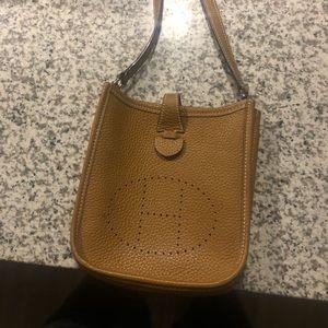 HERMES Evelyne TPM Brown Leather Shoulder Bag